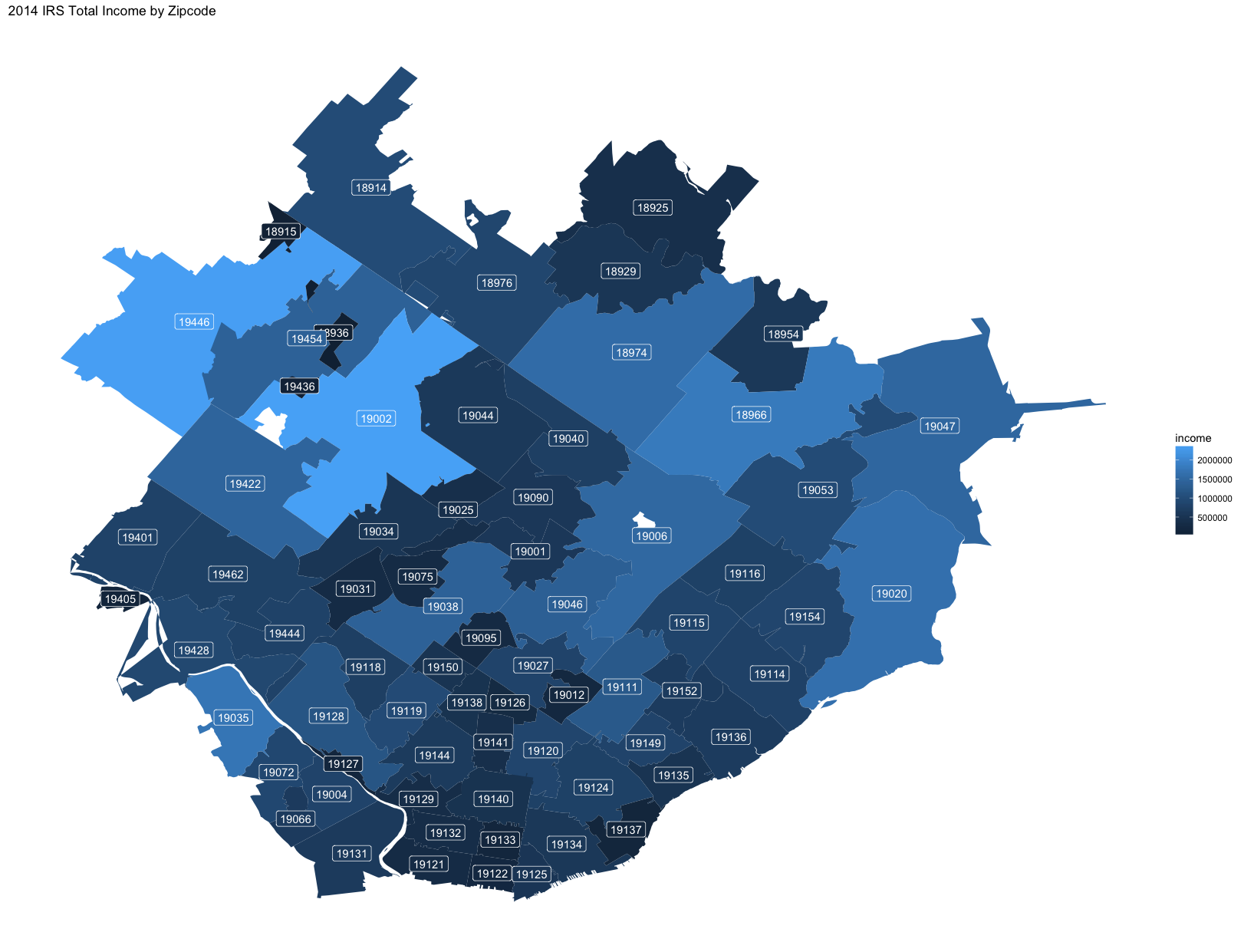 PA Income by Zipcode map